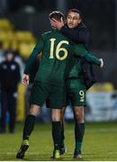 19 November 2019; Adam Idah and Jack Taylor of Republic of Ireland embrace following the UEFA European U21 Championship Qualifier match between Republic of Ireland and Sweden at Tallaght Stadium in Tallaght, Dublin. Photo by Harry Murphy/Sportsfile