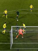 19 November 2019; Adam Idah of Republic of Ireland scores his side's second goal during the UEFA European U21 Championship Qualifier match between Republic of Ireland and Sweden at Tallaght Stadium in Tallaght, Dublin. Photo by Stephen McCarthy/Sportsfile