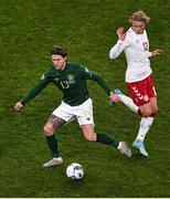 18 November 2019; Jeff Hendrick of Republic of Ireland and Kasper Dolberg of Denmark during the UEFA EURO2020 Qualifier - Group D match between Republic of Ireland and Denmark at Aviva Stadium in Dublin. Photo by Ben McShane/Sportsfile