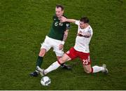 18 November 2019; Glenn Whelan of Republic of Ireland and Pierre-Emile Højbjerg of Denmark during the UEFA EURO2020 Qualifier - Group D match between Republic of Ireland and Denmark at Aviva Stadium in Dublin. Photo by Ben McShane/Sportsfile