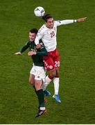 18 November 2019; Ciaran Clark of Republic of Ireland and Yussuf Poulsen of Denmark during the UEFA EURO2020 Qualifier - Group D match between Republic of Ireland and Denmark at Aviva Stadium in Dublin. Photo by Ben McShane/Sportsfile