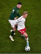 18 November 2019; Kasper Dolberg of Denmark and Alan Browne of Republic of Ireland during the UEFA EURO2020 Qualifier - Group D match between Republic of Ireland and Denmark at Aviva Stadium in Dublin. Photo by Ben McShane/Sportsfile