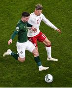 18 November 2019; Sean Maguire of Republic of Ireland and Jens Stryger Larsen of Denmark during the UEFA EURO2020 Qualifier - Group D match between Republic of Ireland and Denmark at Aviva Stadium in Dublin. Photo by Ben McShane/Sportsfile