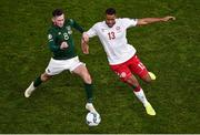18 November 2019; Alan Browne of Republic of Ireland and Mathias Jørgensen of Denmark during the UEFA EURO2020 Qualifier - Group D match between Republic of Ireland and Denmark at Aviva Stadium in Dublin. Photo by Ben McShane/Sportsfile