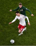 18 November 2019; Andreas Christensen of Denmark and James McClean of Republic of Ireland during the UEFA EURO2020 Qualifier - Group D match between Republic of Ireland and Denmark at Aviva Stadium in Dublin. Photo by Ben McShane/Sportsfile