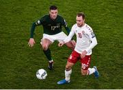 18 November 2019; Christian Eriksen of Denmark and Ciaran Clark of Republic of Ireland during the UEFA EURO2020 Qualifier - Group D match between Republic of Ireland and Denmark at Aviva Stadium in Dublin. Photo by Ben McShane/Sportsfile