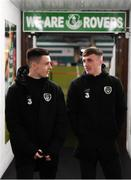 19 November 2019; Darragh Leahy, left, and Danny Grant of Republic of Ireland prior to the UEFA European U21 Championship Qualifier match between Republic of Ireland and Sweden at Tallaght Stadium in Tallaght, Dublin. Photo by Stephen McCarthy/Sportsfile