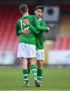 18 November 2019; Oliver O'Neill of Republic of Ireland, right, celebrates scoring his side's first goal with team-mate Evan Ferguson during the UEFA Under-17 European Championship Qualifier match between Republic of Ireland and Israel at Turner's Cross in Cork. Photo by Piaras Ó Mídheach/Sportsfile
