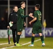 19 November 2019; Jack Taylor replaces his Republic of Ireland team-mate Jason Knight during the UEFA European U21 Championship Qualifier match between Republic of Ireland and Sweden at Tallaght Stadium in Tallaght, Dublin. Photo by Stephen McCarthy/Sportsfile