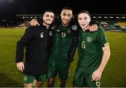 19 November 2019; Republic of Ireland players, from left, Troy Parrott, Adam Idah and Conor Coventry following the UEFA European U21 Championship Qualifier match between Republic of Ireland and Sweden at Tallaght Stadium in Tallaght, Dublin. Photo by Stephen McCarthy/Sportsfile