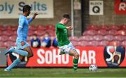 18 November 2019; Evan Ferguson of Republic of Ireland shoots to score his side's fourth goal during the UEFA Under-17 European Championship Qualifier match between Republic of Ireland and Israel at Turner's Cross in Cork. Photo by Piaras Ó Mídheach/Sportsfile