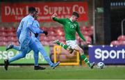 18 November 2019; Evan Ferguson of Republic of Ireland shoots under pressure from Ilay Madmoun, centre, and Ariel Belson of Israel during the UEFA Under-17 European Championship Qualifier match between Republic of Ireland and Israel at Turner's Cross in Cork. Photo by Piaras Ó Mídheach/Sportsfile