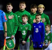 19 November 2019; James McManus of Republic of Ireland, left, during the national anthem prior to the U15 International Friendly match between Republic of Ireland and Poland at Eamonn Deacy Park in Galway. Photo by Seb Daly/Sportsfile