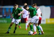 19 November 2019; Justin Ferizaj of Republic of Ireland in action against Dawid Zieba of Poland during the U15 International Friendly match between Republic of Ireland and Poland at Eamonn Deacy Park in Galway. Photo by Seb Daly/Sportsfile