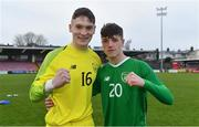 18 November 2019; Republic of Ireland players Patrick McGarvey, left, and Kailin Barlow celebrate after the UEFA Under-17 European Championship Qualifier match between Republic of Ireland and Israel at Turner's Cross in Cork. Photo by Piaras Ó Mídheach/Sportsfile