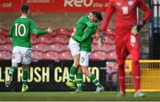 18 November 2019; Evan Ferguson of Republic of Ireland celebrates scoring his side's fourth goal with team-mate Oliver O'Neill, centre, during the UEFA Under-17 European Championship Qualifier match between Republic of Ireland and Israel at Turner's Cross in Cork. Photo by Piaras Ó Mídheach/Sportsfile