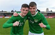 18 November 2019; Republic of Ireland players Ben McCormack, left, and Evan Ferguson celebrate after the UEFA Under-17 European Championship Qualifier match between Republic of Ireland and Israel at Turner's Cross in Cork. Photo by Piaras Ó Mídheach/Sportsfile