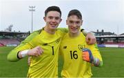 18 November 2019; Republic of Ireland goalkeepers Daniel Rose, left, and Patrick McGarvey celebrate after the UEFA Under-17 European Championship Qualifier match between Republic of Ireland and Israel at Turner's Cross in Cork. Photo by Piaras Ó Mídheach/Sportsfile