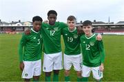 18 November 2019; Republic of Ireland players, from left, Omotayo Adaramola, Mohammed Olabosun Lawal, Evan Ferguson, and Andrew Moran after the UEFA Under-17 European Championship Qualifier match between Republic of Ireland and Israel at Turner's Cross in Cork. Photo by Piaras Ó Mídheach/Sportsfile
