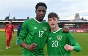 18 November 2019; Republic of Ireland players Mohammed Olabosun Lawal, left, and Kailin Barlow celebrate after the UEFA Under-17 European Championship Qualifier match between Republic of Ireland and Israel at Turner's Cross in Cork. Photo by Piaras Ó Mídheach/Sportsfile