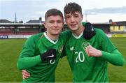18 November 2019; Republic of Ireland Kyle Martin-Conway, left, and Kailin Barlow celebrate after the UEFA Under-17 European Championship Qualifier match between Republic of Ireland and Israel at Turner's Cross in Cork. Photo by Piaras Ó Mídheach/Sportsfile