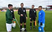 18 November 2019; Referee Mario Zebec performs the coin toss with team captains Gavin Liam O'Brien of Republic of Ireland and Bar Nuhi of Israel during the UEFA Under-17 European Championship Qualifier match between Republic of Ireland and Israel at Turner's Cross in Cork. Photo by Piaras Ó Mídheach/Sportsfile