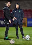 15 November 2019; Republic of Ireland head coach Colin O'Brien with assistant coach David Meyler, left, before the Under-17 UEFA European Championship Qualifier match between Republic of Ireland and Montenegro at Turner's Cross in Cork. Photo by Piaras Ó Mídheach/Sportsfile