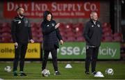 15 November 2019; Republic of Ireland head coach Colin O'Brien, centre, with assistant coach David Meyler, left, and goalkeeping coach Josh Moran before the Under-17 UEFA European Championship Qualifier match between Republic of Ireland and Montenegro at Turner's Cross in Cork. Photo by Piaras Ó Mídheach/Sportsfile