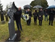 21 November 2019; Uachtarán Cumann Lúthchleas Gael John Horan, left, unveils the headstone of Jerome O'Leary with Monsignor Eoin Thynne, centre, and Ard Stiúrthóir of the GAA Tom Ryan during the unveiling of headstones on the graves of Jerome O'Leary, 10, Michael Feery, 40, and Patrick O'Dowd, 57, who are among the 14 people killed at Croke Park on this day 99 years ago on what became known as Bloody Sunday. These unveilings complete the list of seven Bloody Sunday victims who until recently had all been buried in unmarked graves at different locations at Glasnevin Cemetery in Dublin. Photo by Matt Browne/Sportsfile