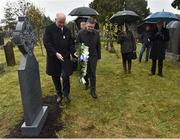 21 November 2019; Uachtarán Cumann Lúthchleas Gael John Horan, left, and Ard Stiúrthóir of the GAA Tom Ryan place a wreath at the headstone of Jerome O'Leary during the unveiling of headstones on the graves of Jerome O'Leary, 10, Michael Feery, 40, and Patrick O'Dowd, 57, who are among the 14 people killed at Croke Park on this day 99 years ago on what became known as Bloody Sunday. These unveilings complete the list of seven Bloody Sunday victims who until recently had all been buried in unmarked graves at different locations at Glasnevin Cemetery in Dublin. Photo by Matt Browne/Sportsfile