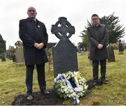 21 November 2019; Uachtarán Cumann Lúthchleas Gael John Horan, left, and Ard Stiúrthóir of the GAA Tom Ryan after placing a wreath at the headstone of Jerome O'Leary during the unveiling of headstones on the graves of Jerome O'Leary, 10, Michael Feery, 40, and Patrick O'Dowd, 57, who are among the 14 people killed at Croke Park on this day 99 years ago on what became known as Bloody Sunday. These unveilings complete the list of seven Bloody Sunday victims who until recently had all been buried in unmarked graves at different locations at Glasnevin Cemetery in Dublin. Photo by Matt Browne/Sportsfile