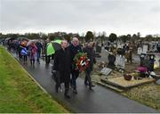 21 November 2019; Uachtarán Cumann Lúthchleas Gael John Horan, centre, with Monsignor Eoin Thynne, left, and Ard Stiúrthóir of the GAA Tom Ryan at the unveiling of headstones on the graves of Jerome O'Leary, 10, Michael Feery, 40, and Patrick O'Dowd, 57, who are among the 14 people killed at Croke Park on this day 99 years ago on what became known as Bloody Sunday. These unveilings complete the list of seven Bloody Sunday victims who until recently had all been buried in unmarked graves at different locations at Glasnevin Cemetery in Dublin. Photo by Matt Browne/Sportsfile