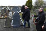 21 November 2019; Uachtarán Cumann Lúthchleas Gael John Horan, left, unveils the headstone of Michael Feery with Monsignor Eoin Thynne, right, and Ard Stiúrthóir of the GAA Tom Ryan during the unveiling of headstones on the graves of Jerome O'Leary, 10, Michael Feery, 40, and Patrick O'Dowd, 57, who are among the 14 people killed at Croke Park on this day 99 years ago on what became known as Bloody Sunday. These unveilings complete the list of seven Bloody Sunday victims who until recently had all been buried in unmarked graves at different locations at Glasnevin Cemetery in Dublin. Photo by Matt Browne/Sportsfile