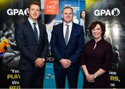 21 November 2019; Former Dublin footballer Mark Vaughan, centre, is joined by Paul Flynn, GPA CEO, and Professor Barbara Flood, DCU Business School, at the announcement of the 10th year of DCU Business School and GPA scholarships, at DCU Business School in Dublin City University, Dublin. Photo by Seb Daly/Sportsfile