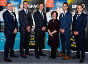 21 November 2019; Pictured in attendance, from left, are former Dublin footballer Mark Vaughan, former Dublin footballer Shane Carthy, Paul Flynn GPA CEO, Professor Barbara Flood, DCU Business School, Dublin hurler Riain McBride and former Roscommon footballer Paul Gleeson, at the announcement of the 10th year of DCU Business School and GPA scholarships, at DCU Business School in Dublin City University, Dublin. Photo by Seb Daly/Sportsfile