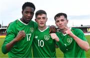 18 November 2019; Republic of Ireland players, from left, Mohammed Olabosun Lawal, Ben McCormack, and Gavin Liam O'Brien celebrate after the UEFA Under-17 European Championship Qualifier match between Republic of Ireland and Israel at Turner's Cross in Cork. Photo by Piaras Ó Mídheach/Sportsfile