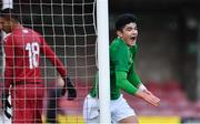 18 November 2019; Anselmo Garcia McNulty of Republic of Ireland celebrates scoring his side's second goal during the UEFA Under-17 European Championship Qualifier match between Republic of Ireland and Israel at Turner's Cross in Cork. Photo by Piaras Ó Mídheach/Sportsfile