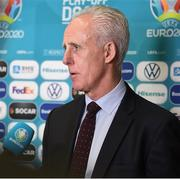22 November 2019; Republic of Ireland manager Mick McCarthy is interviewed following the UEFA EURO 2020 Play-Off Draw at UEFA Headquarters in Nyon, Switzerland. Photo by UEFA via Sportsfile