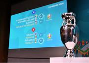 22 November 2019; A general view of the fixtures following the UEFA EURO 2020 Play-Off Draw at UEFA Headquarters in Nyon, Switzerland. Photo by UEFA via Sportsfile