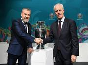 22 November 2019; Republic of Ireland manager Mick McCarthy, right, and Slovakia manager Pavel Hapal following the UEFA EURO 2020 Play-Off Draw at UEFA Headquarters in Nyon, Switzerland. Photo by UEFA via Sportsfile
