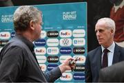 22 November 2019; Republic of Ireland manager Mick McCarthy is interviewed by Paul Rowan of The Sunday Times following the UEFA EURO 2020 Play-Off Draw at UEFA Headquarters in Nyon, Switzerland. Photo by UEFA via Sportsfile