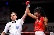 22 November 2019; Evelyn Igharo of Clann Naofa, Co Louth, reacts after beating Ciara Ginty of Geesala, Co Mayo, in their 64kg bout during the IABA Irish National Elite Boxing Championships Finals at the National Stadium in Dublin. Photo by Piaras Ó Mídheach/Sportsfile