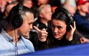 22 November 2019; Boxers and pundits Kellie Harrington, right, and Darren O'Neill during the IABA Irish National Elite Boxing Championships Finals at the National Stadium in Dublin. Photo by Piaras Ó Mídheach/Sportsfile