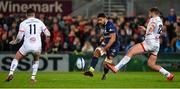 22 November 2019; George Moala of ASM Clermont Auvergne kicking the ball through Jacob Stockdale and Stuart McCloskey of Ulster during the Heineken Champions Cup Pool 3 Round 2 match between Ulster and ASM Clermont Auvergne at Kingspan Stadium in Belfast. Photo by Oliver McVeigh/Sportsfile