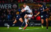 22 November 2019; Will Addison of Ulster is tackled by Isaiah Toeava of ASM Clermont Auvergne during the Heineken Champions Cup Pool 3 Round 2 match between Ulster and ASM Clermont Auvergne at the Kingspan Stadium in Belfast. Photo by Sam Barnes/Sportsfile