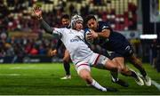 22 November 2019; Luke Marshall of Ulster is tackled by George Moala of ASM Clermont Auvergne during the Heineken Champions Cup Pool 3 Round 2 match between Ulster and ASM Clermont Auvergne at the Kingspan Stadium in Belfast. Photo by Sam Barnes/Sportsfile