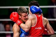 22 November 2019; John Joe Nevin of Crumlin, Co Dublin, left, in action against Jason Harty of Rathkeale, Co Limerick, in their 75kg bout during the IABA Irish National Elite Boxing Championships Finals at the National Stadium in Dublin. Photo by Piaras Ó Mídheach/Sportsfile