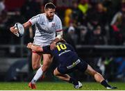 22 November 2019; Stuart McCloskey of Ulster is tackled by Jake McIntyre of ASM Clermont Auvergne during the Heineken Champions Cup Pool 3 Round 2 match between Ulster and ASM Clermont Auvergne at the Kingspan Stadium in Belfast. Photo by Sam Barnes/Sportsfile