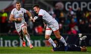 22 November 2019; Billy Burns of Ulster is tackled by Isaiah Toeava of ASM Clermont Auvergne during the Heineken Champions Cup Pool 3 Round 2 match between Ulster and ASM Clermont Auvergne at the Kingspan Stadium in Belfast. Photo by Sam Barnes/Sportsfile
