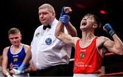 22 November 2019; Jude Gallagher of Two Castles, Co Tyrone, celebrates beating Regan Buckley of St Teresa's, Co Wicklow, in their 52kg bout during the IABA Irish National Elite Boxing Championships Finals at the National Stadium in Dublin. Photo by Piaras Ó Mídheach/Sportsfile